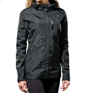 Paradox women's rain jacket black lime polka dots